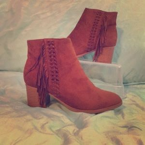 Faux Suede Maurice's Brown Tassel Boots 9.5